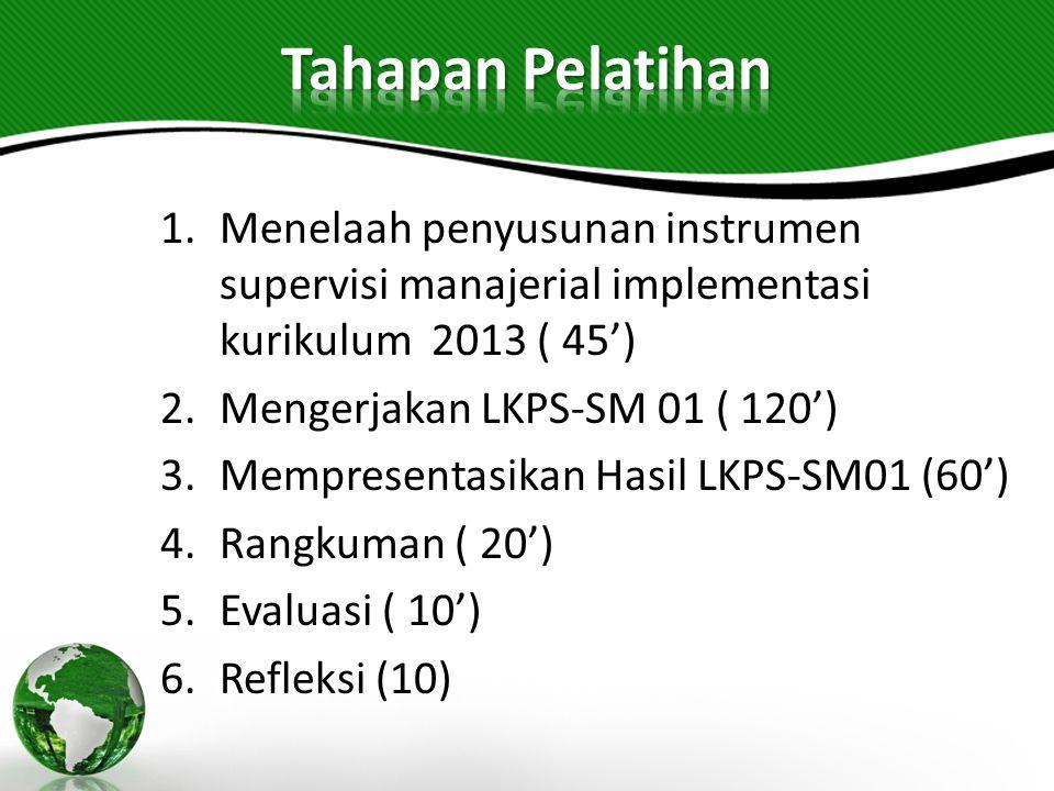 1.Menelaah penyusunan instrumen supervisi manajerial implementasi kurikulum 2013 ( 45') 2.Mengerjakan LKPS-SM 01 ( 120') 3.Mempresentasikan Hasil LKPS-SM01 (60') 4.Rangkuman ( 20') 5.Evaluasi ( 10') 6.Refleksi (10)