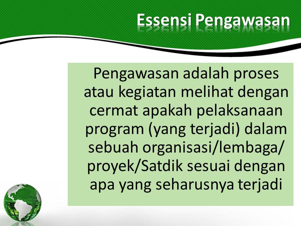 Pengawasan adalah proses atau kegiatan melihat dengan cermat apakah pelaksanaan program (yang terjadi) dalam sebuah organisasi/lembaga/ proyek/Satdik