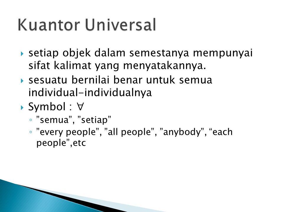  setiap objek dalam semestanya mempunyai sifat kalimat yang menyatakannya.  sesuatu bernilai benar untuk semua individual-individualnya  Symbol : ∀