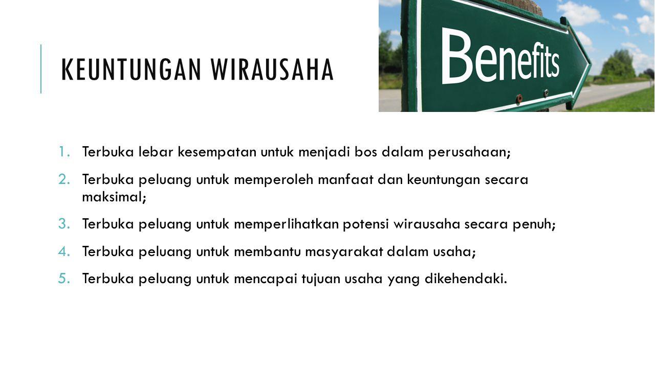 KEUNTUNGAN WIRAUSAHA 1.Terbuka lebar kesempatan untuk menjadi bos dalam perusahaan; 2.Terbuka peluang untuk memperoleh manfaat dan keuntungan secara m