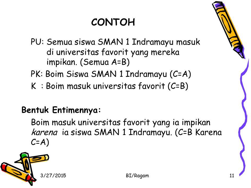 CONTOH PU: Semua siswa SMAN 1 Indramayu masuk di universitas favorit yang mereka impikan. (Semua A=B) PK: Boim Siswa SMAN 1 Indramayu (C=A) K : Boim m