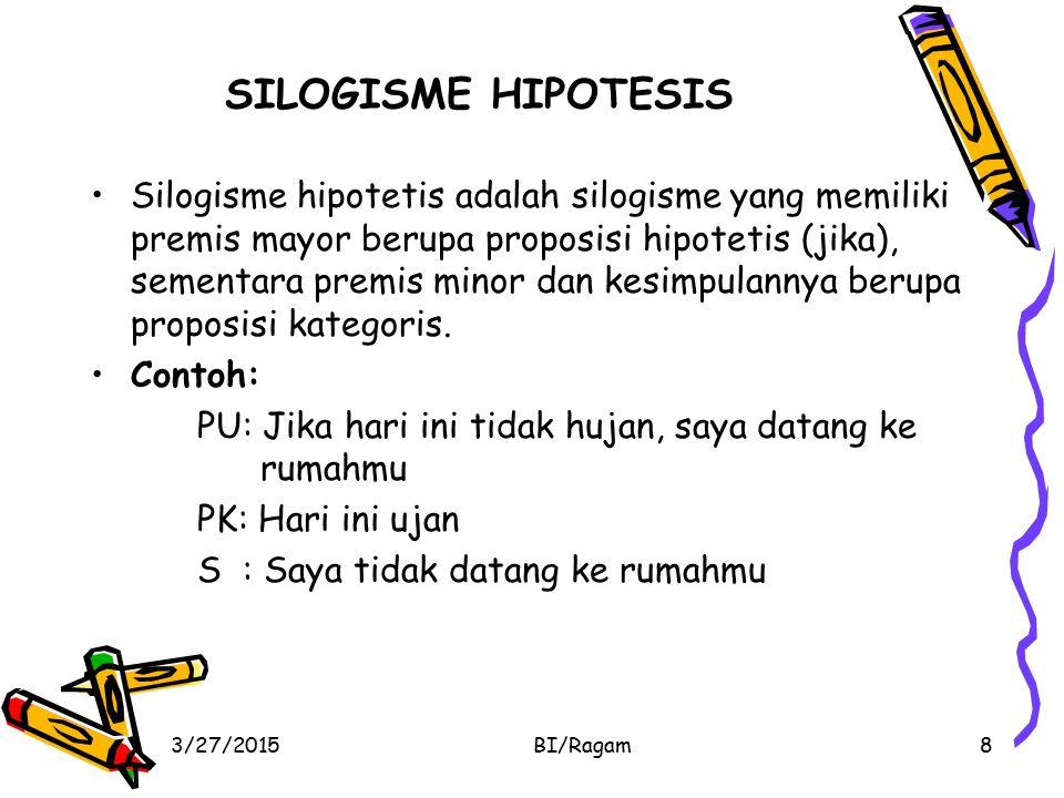 SILOGISME HIPOTESIS Silogisme hipotetis adalah silogisme yang memiliki premis mayor berupa proposisi hipotetis (jika), sementara premis minor dan kesi
