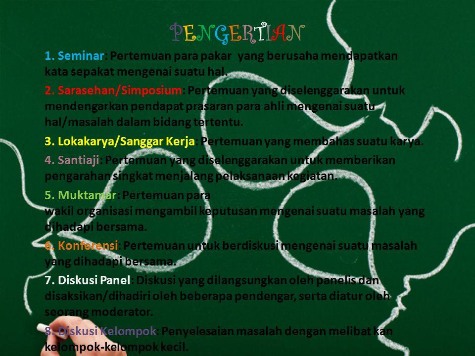 MACAM-MACAM DISKUSI Macam- macam DISKUSI Seminar Sarasehan /Simposiu m Lokakarya /Sanggar Kerja Santiaji Mukta mar Konfere nsi Diskusi Panel Diskusi Kelomp ok