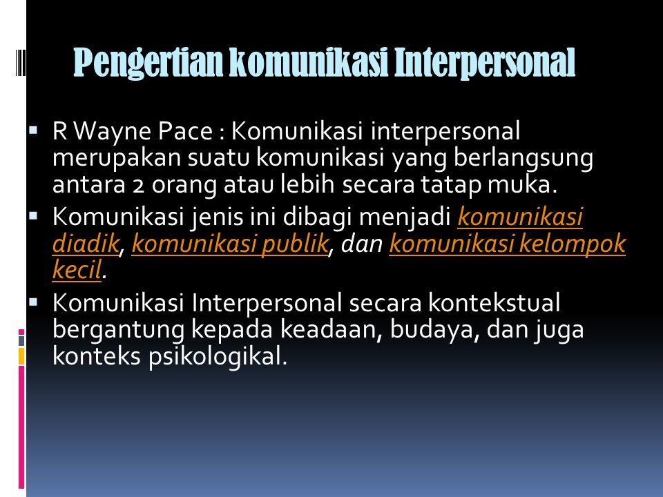 Pengertian komunikasi Interpersonal  R Wayne Pace : Komunikasi interpersonal merupakan suatu komunikasi yang berlangsung antara 2 orang atau lebih secara tatap muka.