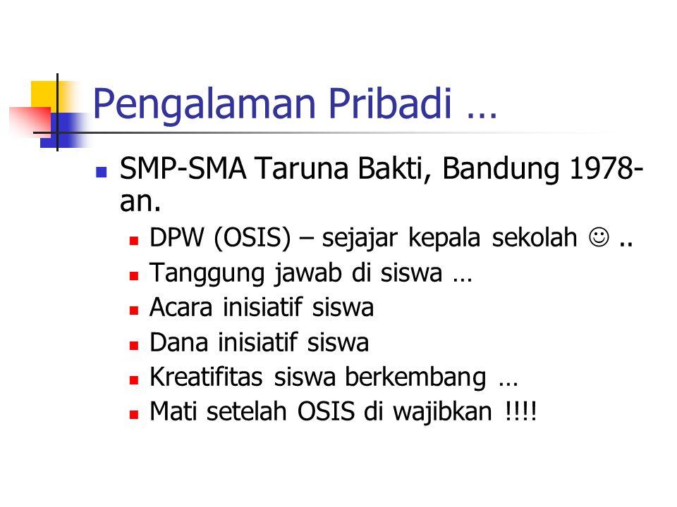 Pengalaman Pribadi … SMP-SMA Taruna Bakti, Bandung 1978- an.