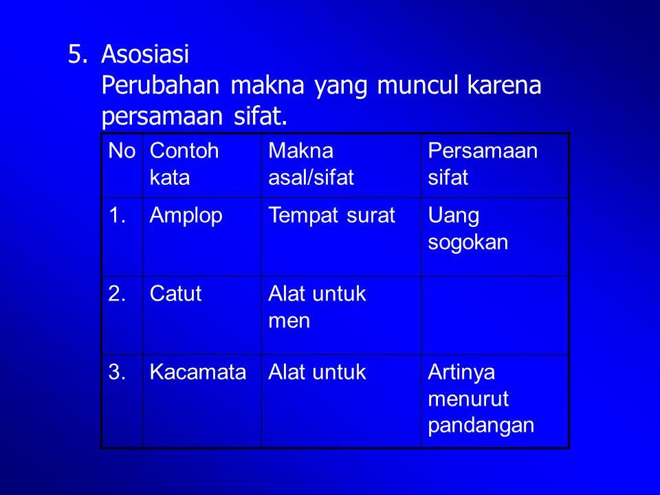 5. Asosiasi Perubahan makna yang muncul karena persamaan sifat. NoContoh kata Makna asal/sifat Persamaan sifat 1.AmplopTempat suratUang sogokan 2.Catu
