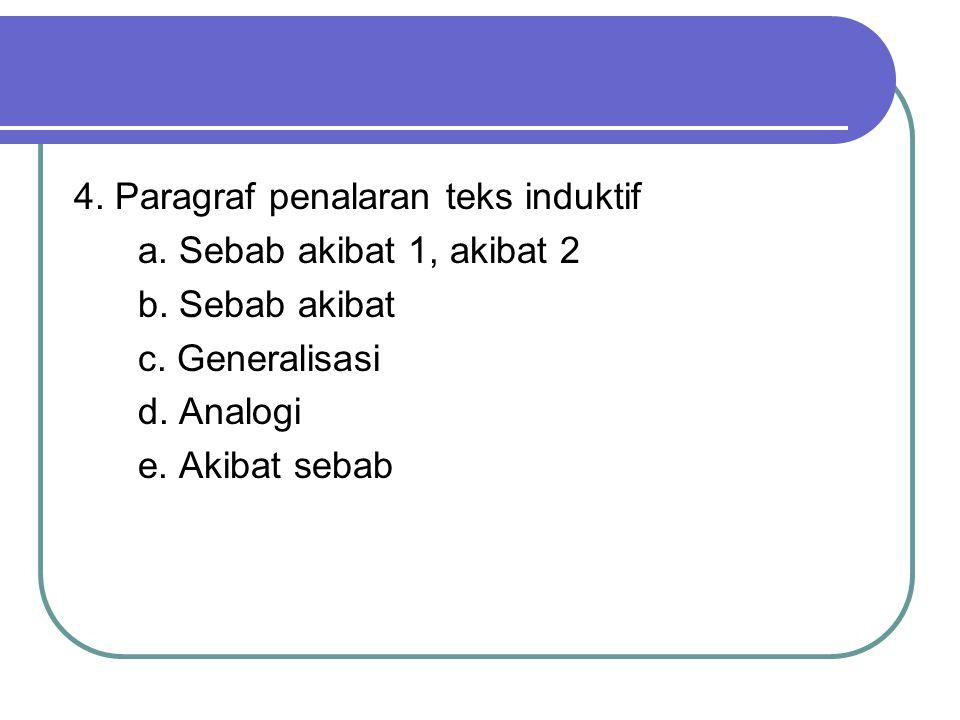 4.Paragraf penalaran teks induktif a. Sebab akibat 1, akibat 2 b.
