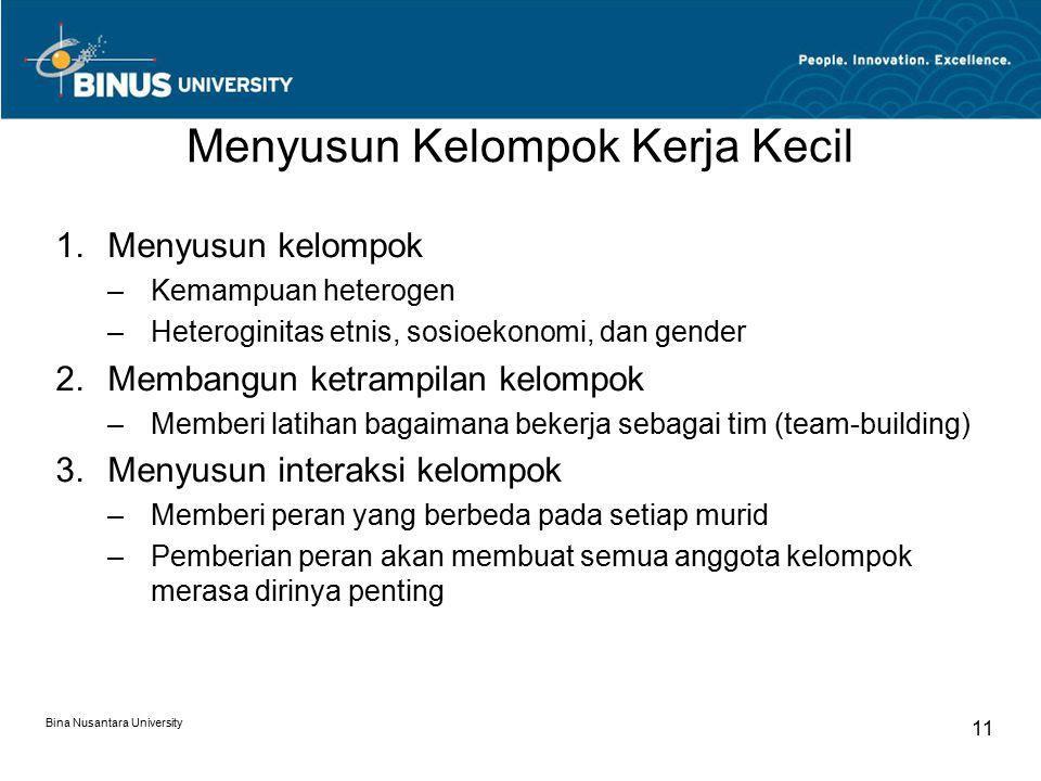Bina Nusantara University 11 Menyusun Kelompok Kerja Kecil 1.Menyusun kelompok –Kemampuan heterogen –Heteroginitas etnis, sosioekonomi, dan gender 2.M