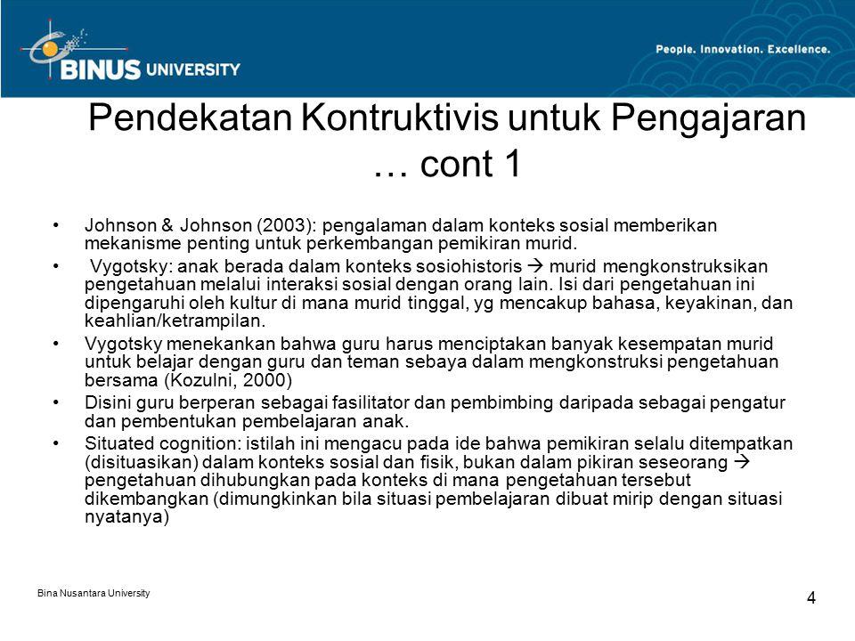 Bina Nusantara University 4 Johnson & Johnson (2003): pengalaman dalam konteks sosial memberikan mekanisme penting untuk perkembangan pemikiran murid.