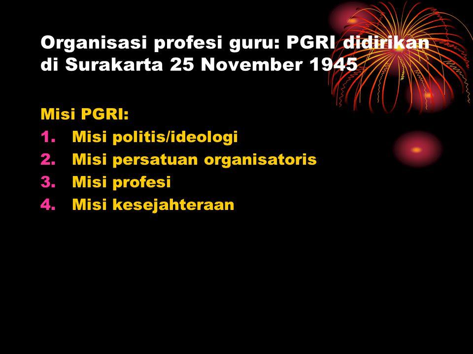 Organisasi profesi guru: PGRI didirikan di Surakarta 25 November 1945 Misi PGRI: 1.Misi politis/ideologi 2.Misi persatuan organisatoris 3.Misi profesi