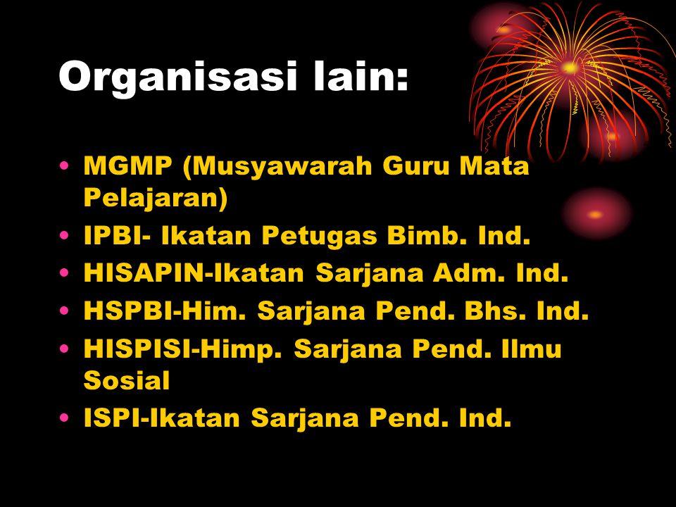 Organisasi lain: MGMP (Musyawarah Guru Mata Pelajaran) IPBI- Ikatan Petugas Bimb. Ind. HISAPIN-Ikatan Sarjana Adm. Ind. HSPBI-Him. Sarjana Pend. Bhs.