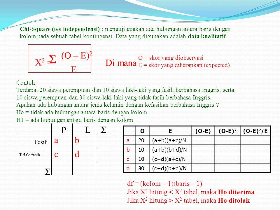 Chi-Square (tes independensi) : menguji apakah ada hubungan antara baris dengan kolom pada sebuah tabel kontingensi.