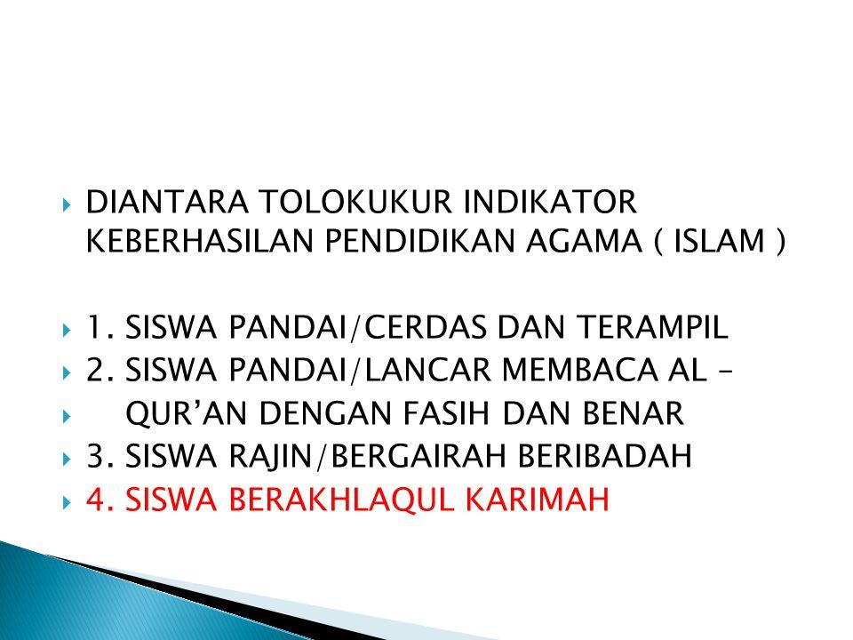  DIANTARA TOLOKUKUR INDIKATOR KEBERHASILAN PENDIDIKAN AGAMA ( ISLAM )  1. SISWA PANDAI/CERDAS DAN TERAMPIL  2. SISWA PANDAI/LANCAR MEMBACA AL –  Q