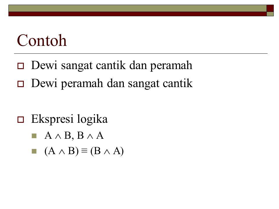 Contoh  Dewi sangat cantik dan peramah  Dewi peramah dan sangat cantik  Ekspresi logika A  B, B  A (A  B) ≡ (B  A)