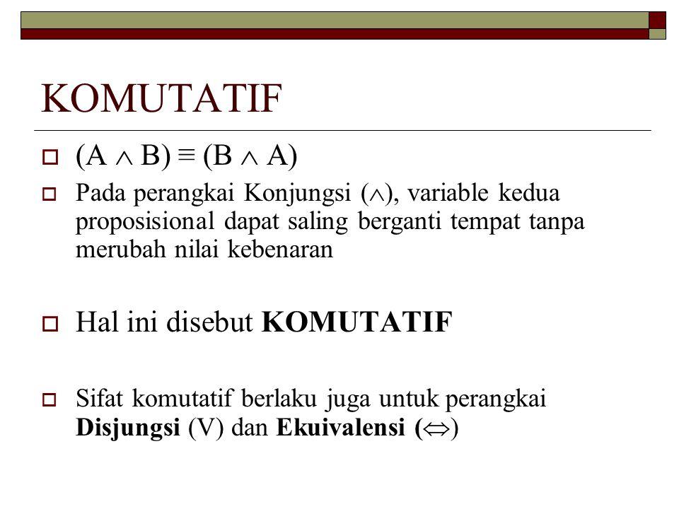 KOMUTATIF  (A  B) ≡ (B  A)  Pada perangkai Konjungsi (  ), variable kedua proposisional dapat saling berganti tempat tanpa merubah nilai kebenara
