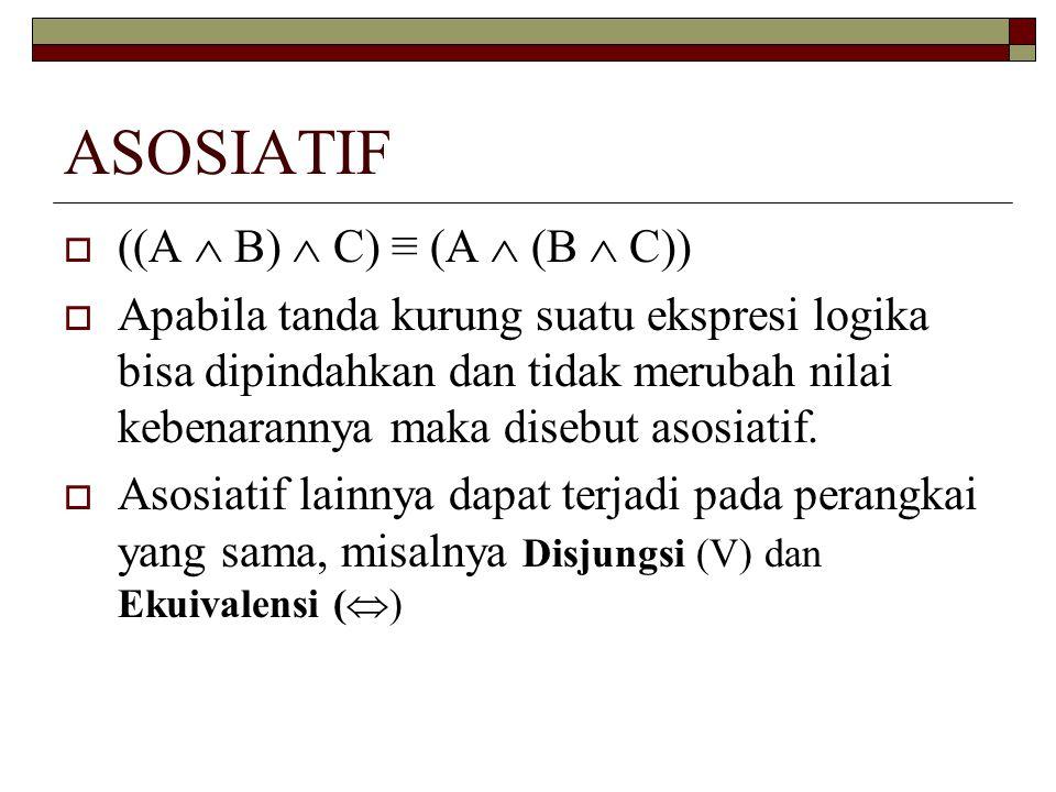 ASOSIATIF  ((A  B)  C) ≡ (A  (B  C))  Apabila tanda kurung suatu ekspresi logika bisa dipindahkan dan tidak merubah nilai kebenarannya maka dise