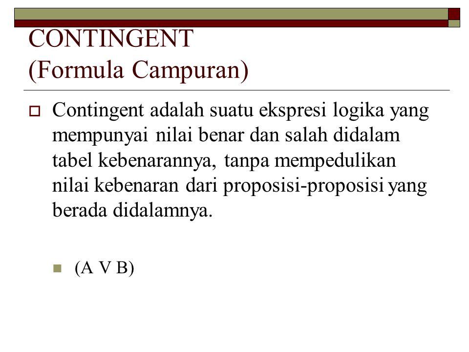 CONTINGENT (Formula Campuran)  Contingent adalah suatu ekspresi logika yang mempunyai nilai benar dan salah didalam tabel kebenarannya, tanpa mempedu
