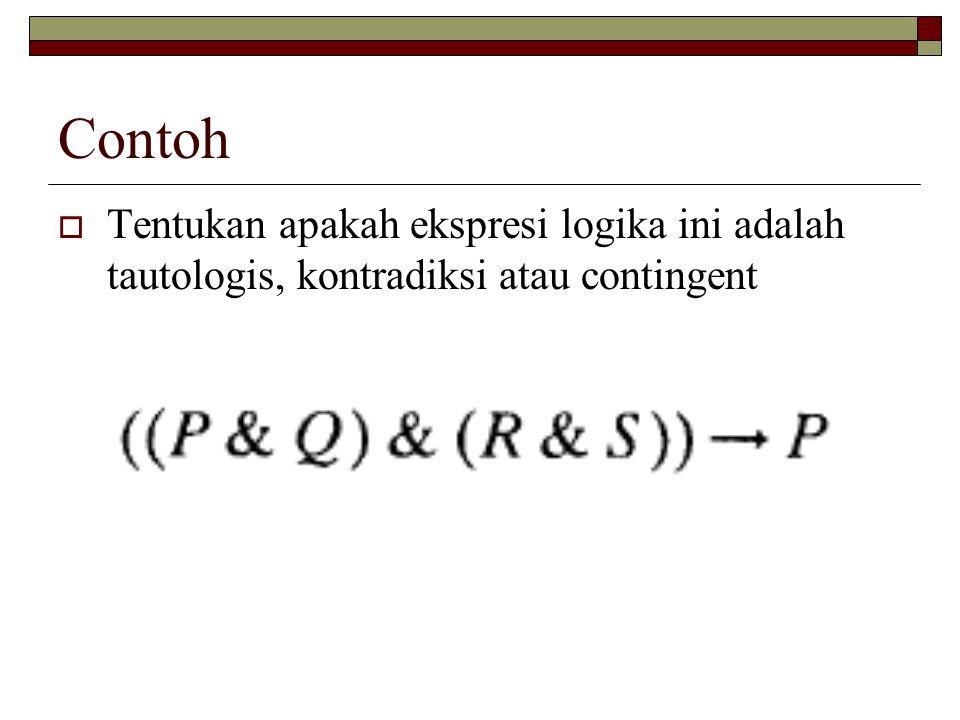 Contoh  Tentukan apakah ekspresi logika ini adalah tautologis, kontradiksi atau contingent