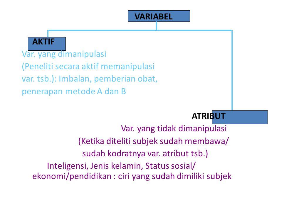 VARIABEL AKTIF Var. yang dimanipulasi (Peneliti secara aktif memanipulasi var.
