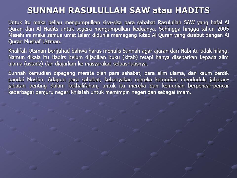 Pada mulanya pengertian As Sunnah adalah perbuatan Rasulullah SAW yang patut ditiru oleh umatnya. Dan Rasulullah SAW pernah berkata kepada Abu Huraira