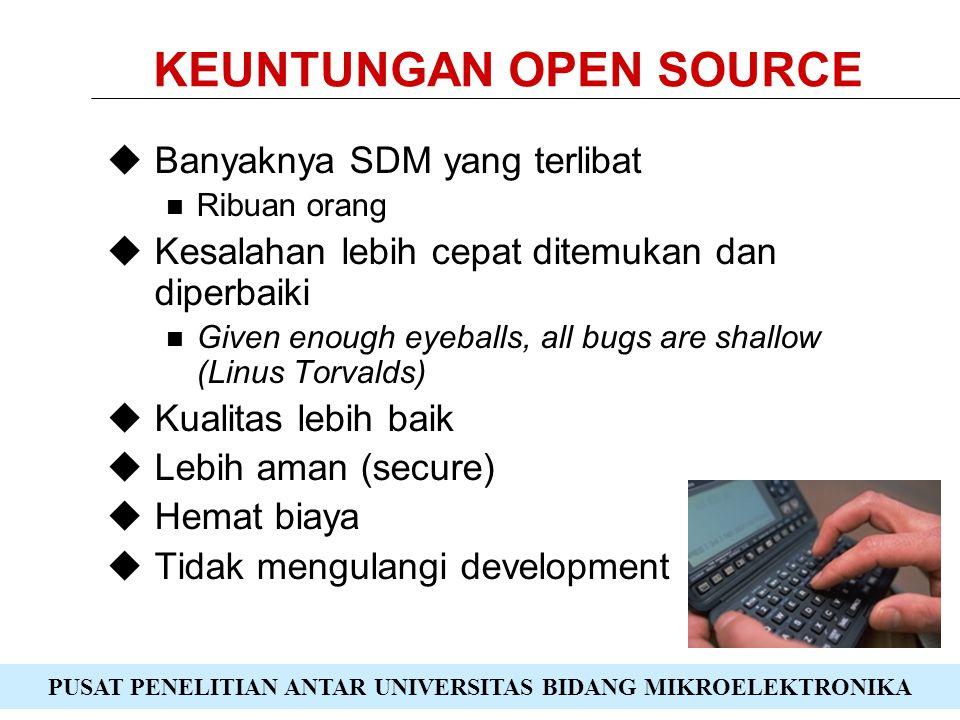PUSAT PENELITIAN ANTAR UNIVERSITAS BIDANG MIKROELEKTRONIKA KEUNTUNGAN OPEN SOURCE  Banyaknya SDM yang terlibat Ribuan orang  Kesalahan lebih cepat ditemukan dan diperbaiki Given enough eyeballs, all bugs are shallow (Linus Torvalds)  Kualitas lebih baik  Lebih aman (secure)  Hemat biaya  Tidak mengulangi development
