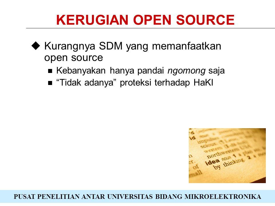 PUSAT PENELITIAN ANTAR UNIVERSITAS BIDANG MIKROELEKTRONIKA KERUGIAN OPEN SOURCE  Kurangnya SDM yang memanfaatkan open source Kebanyakan hanya pandai ngomong saja Tidak adanya proteksi terhadap HaKI