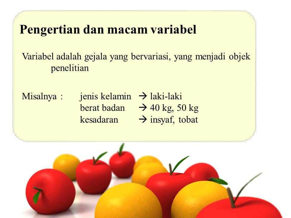 Pengertian dan macam variabel Variabel adalah gejala yang bervariasi, yang menjadi objek penelitian Misalnya : jenis kelamin  laki-laki berat badan 