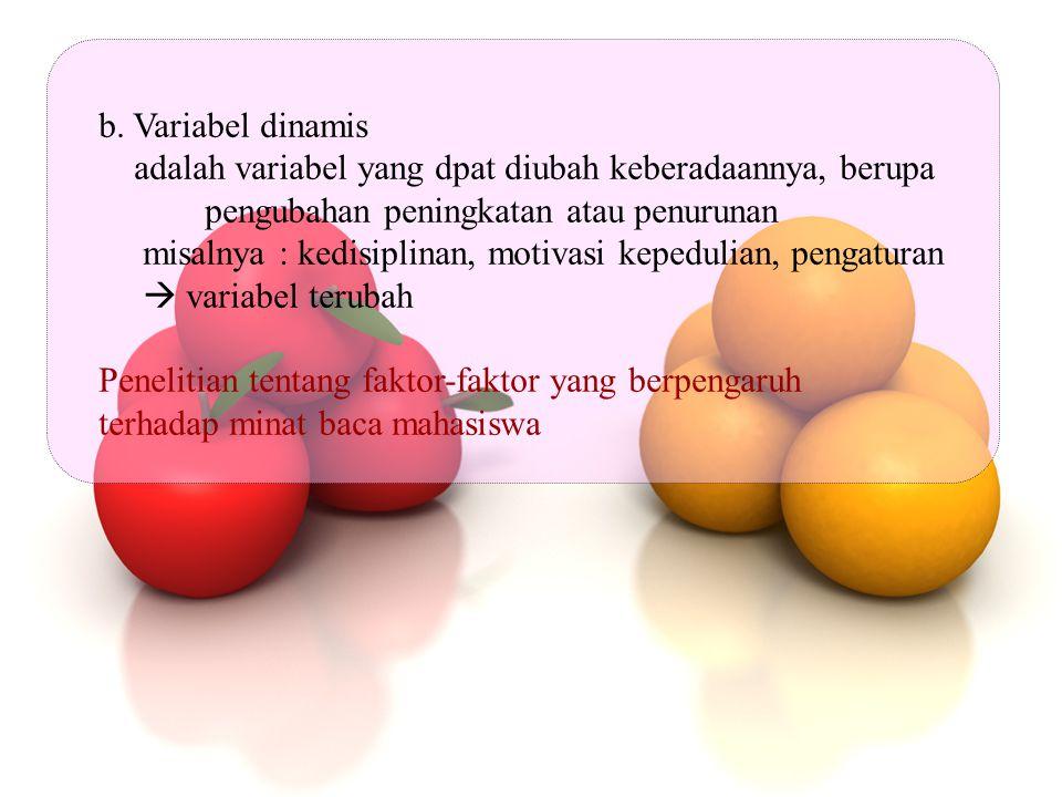 b. Variabel dinamis adalah variabel yang dpat diubah keberadaannya, berupa pengubahan peningkatan atau penurunan misalnya : kedisiplinan, motivasi kep