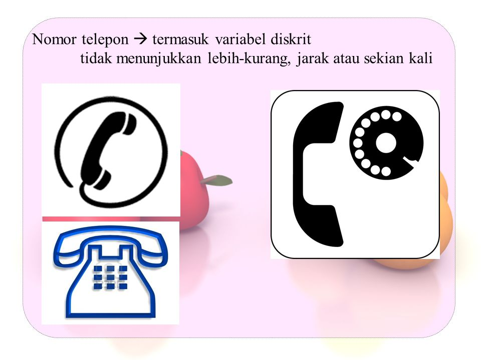Untuk memudahkan mengingat-ingat : - Variabel diskrit diberi simbol laki-laki, perempuan dan gambar telepon - Variabel ordinal diberi simbol gambar 3 orang yang berbeda tingginya - Variabel interval diberi simbol gambar thermometer - Variabel ratio diberi simbol gambar kayu penggaris