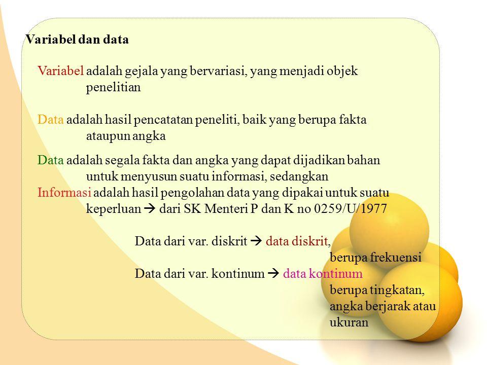 Variabel dan data Variabel adalah gejala yang bervariasi, yang menjadi objek penelitian Data adalah hasil pencatatan peneliti, baik yang berupa fakta