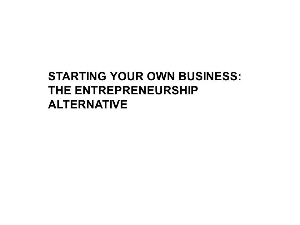 STARTING YOUR OWN BUSINESS: THE ENTREPRENEURSHIP ALTERNATIVE