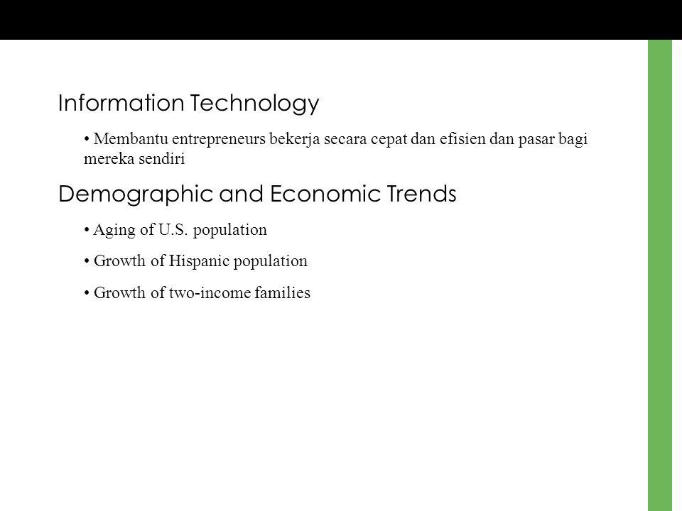 Information Technology Membantu entrepreneurs bekerja secara cepat dan efisien dan pasar bagi mereka sendiri Demographic and Economic Trends Aging of