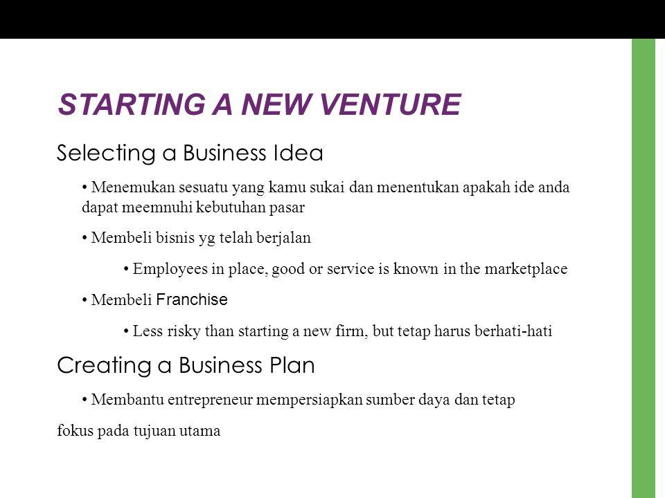 STARTING A NEW VENTURE Selecting a Business Idea Menemukan sesuatu yang kamu sukai dan menentukan apakah ide anda dapat meemnuhi kebutuhan pasar Membe