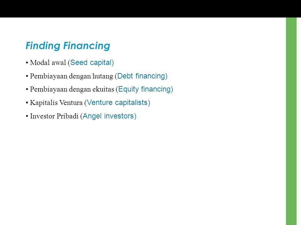 Finding Financing Modal awal ( Seed capital) Pembiayaan dengan hutang ( Debt financing) Pembiayaan dengan ekuitas ( Equity financing) Kapitalis Ventur