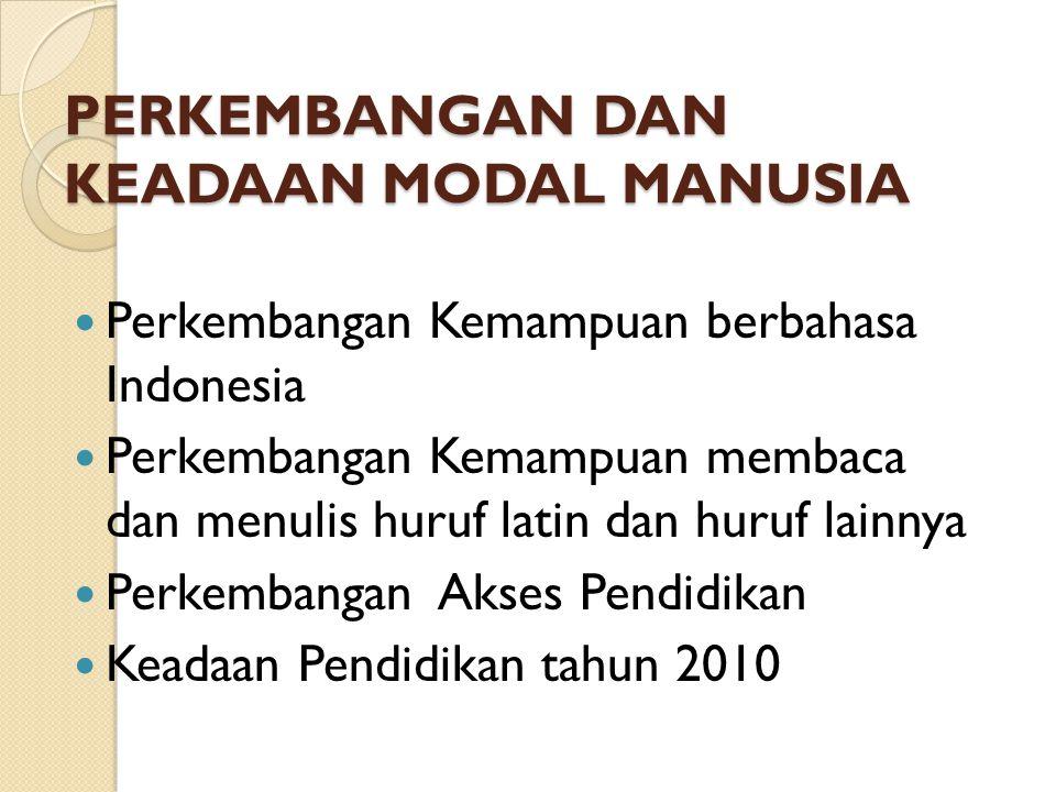 PERKEMBANGAN DAN KEADAAN MODAL MANUSIA Perkembangan Kemampuan berbahasa Indonesia Perkembangan Kemampuan membaca dan menulis huruf latin dan huruf lainnya Perkembangan Akses Pendidikan Keadaan Pendidikan tahun 2010