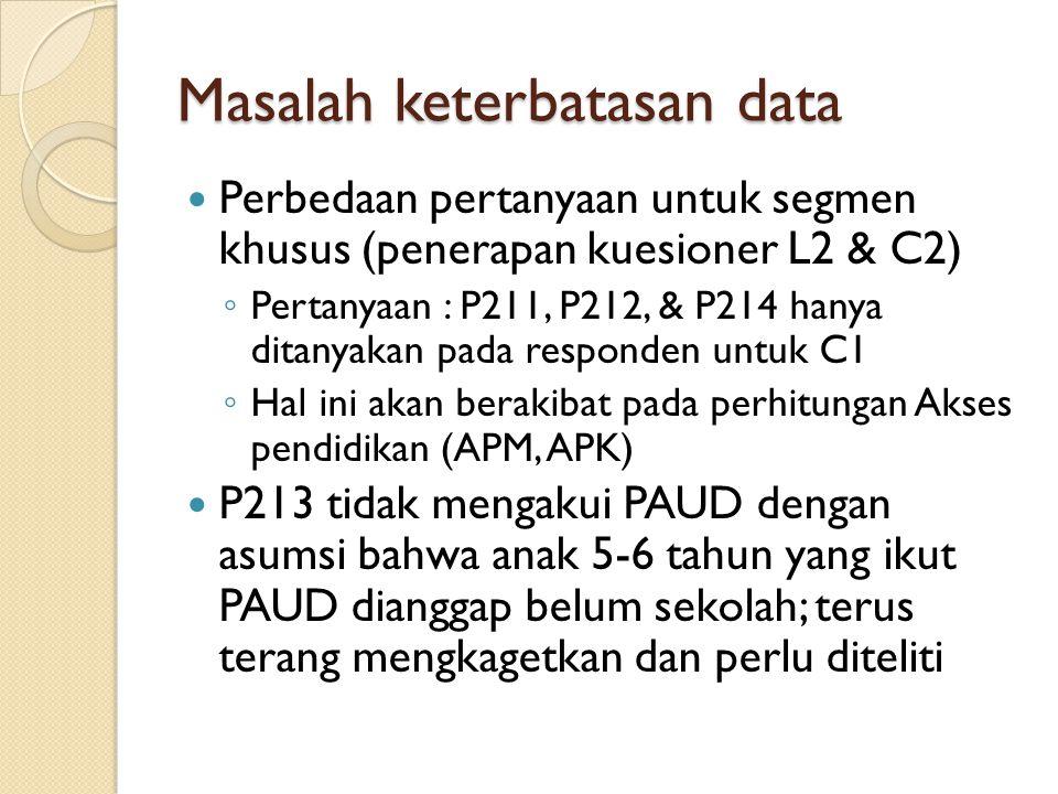 Masalah keterbatasan data Perbedaan pertanyaan untuk segmen khusus (penerapan kuesioner L2 & C2) ◦ Pertanyaan : P211, P212, & P214 hanya ditanyakan pada responden untuk C1 ◦ Hal ini akan berakibat pada perhitungan Akses pendidikan (APM, APK) P213 tidak mengakui PAUD dengan asumsi bahwa anak 5-6 tahun yang ikut PAUD dianggap belum sekolah; terus terang mengkagetkan dan perlu diteliti