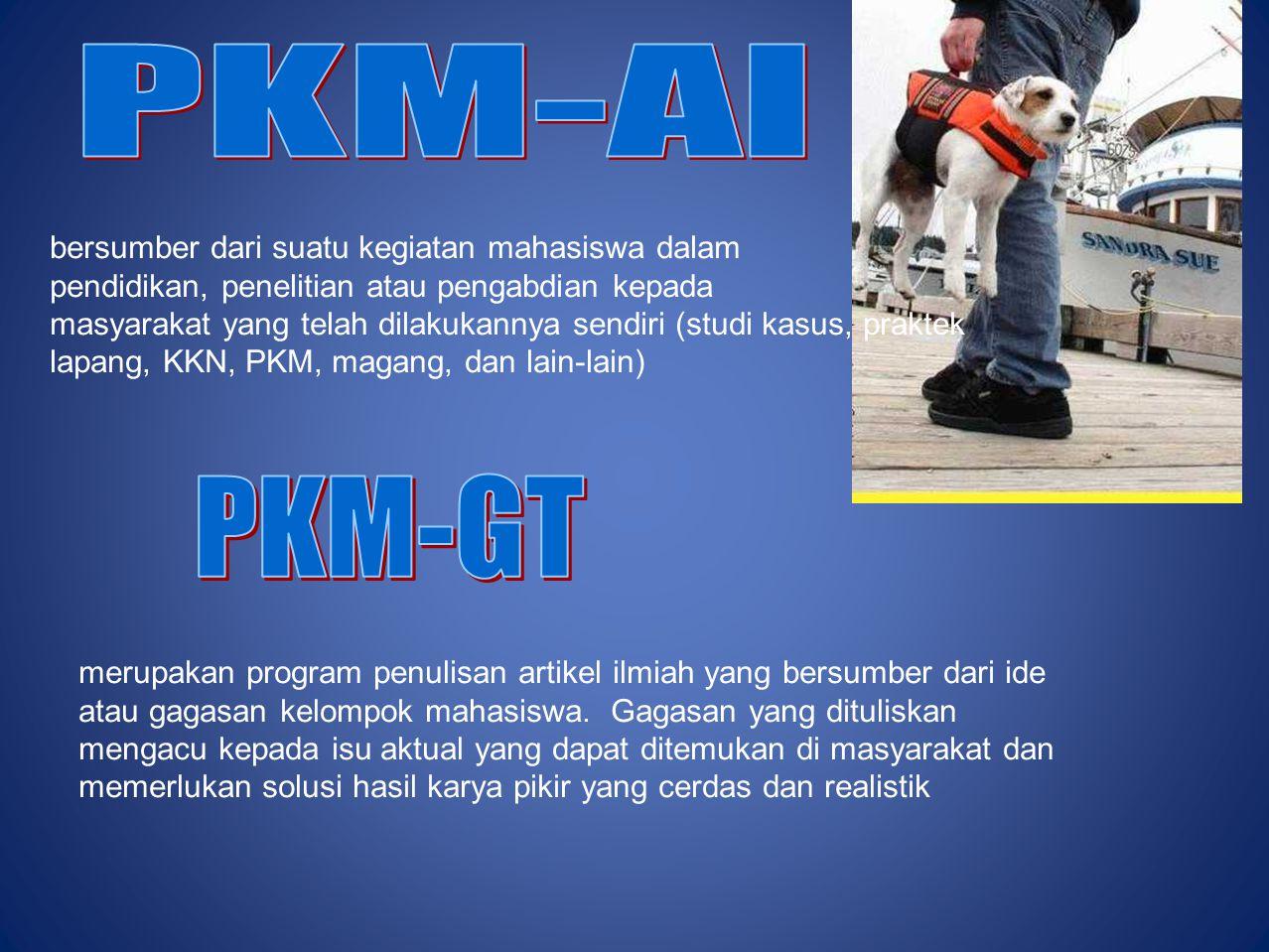 PKM-KC Merupakan program penciptaan yang didasari atas karsa dan nalar mahasiswa, bersifat konstruktif serta menghasilkan suatu sistem, desain, model/