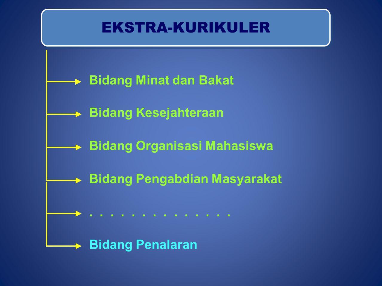 EKSTRA-KURIKULER Bidang Minat dan Bakat Bidang Kesejahteraan Bidang Organisasi Mahasiswa Bidang Pengabdian Masyarakat.......