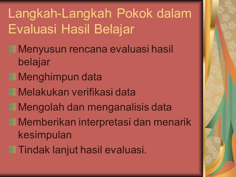 Langkah-Langkah Pokok dalam Evaluasi Hasil Belajar Menyusun rencana evaluasi hasil belajar Menghimpun data Melakukan verifikasi data Mengolah dan meng