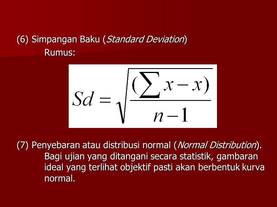 (6) Simpangan Baku (Standard Deviation) Rumus: (7) Penyebaran atau distribusi normal (Normal Distribution). Bagi ujian yang ditangani secara statistik