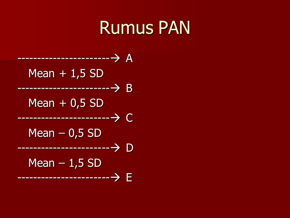 Rumus PAN -----------------------  A Mean + 1,5 SD -----------------------  B Mean + 0,5 SD -----------------------  C Mean – 0,5 SD -----------------------  D Mean – 1,5 SD -----------------------  E