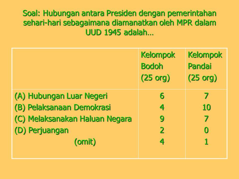 Soal: Hubungan antara Presiden dengan pemerintahan sehari-hari sebagaimana diamanatkan oleh MPR dalam UUD 1945 adalah… KelompokBodoh (25 org) KelompokPandai (A) Hubungan Luar Negeri (B) Pelaksanaan Demokrasi (C) Melaksanakan Haluan Negara (D) Perjuangan (omit) (omit)64924710701