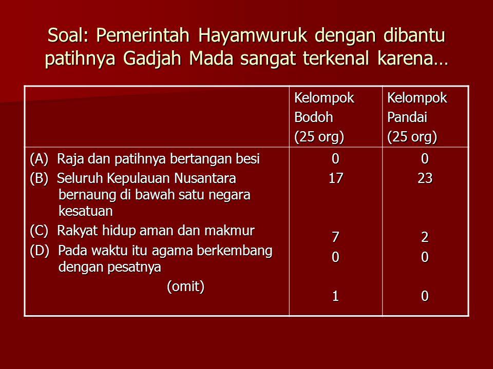Soal: Pemerintah Hayamwuruk dengan dibantu patihnya Gadjah Mada sangat terkenal karena… KelompokBodoh (25 org) KelompokPandai (A) Raja dan patihnya bertangan besi (B) Seluruh Kepulauan Nusantara bernaung di bawah satu negara kesatuan (C) Rakyat hidup aman dan makmur (D) Pada waktu itu agama berkembang dengan pesatnya (omit) (omit)017701023200