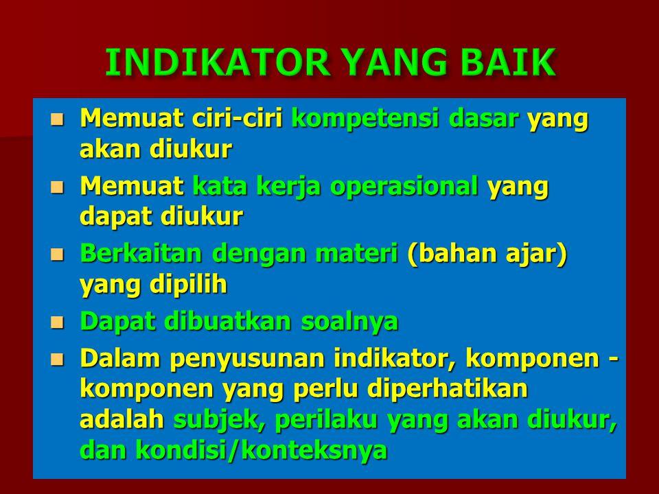 Memuat ciri-ciri kompetensi dasar yang akan diukur Memuat ciri-ciri kompetensi dasar yang akan diukur Memuat kata kerja operasional yang dapat diukur Memuat kata kerja operasional yang dapat diukur Berkaitan dengan materi (bahan ajar) yang dipilih Berkaitan dengan materi (bahan ajar) yang dipilih Dapat dibuatkan soalnya Dapat dibuatkan soalnya Dalam penyusunan indikator, komponen - komponen yang perlu diperhatikan adalah subjek, perilaku yang akan diukur, dan kondisi/konteksnya Dalam penyusunan indikator, komponen - komponen yang perlu diperhatikan adalah subjek, perilaku yang akan diukur, dan kondisi/konteksnya
