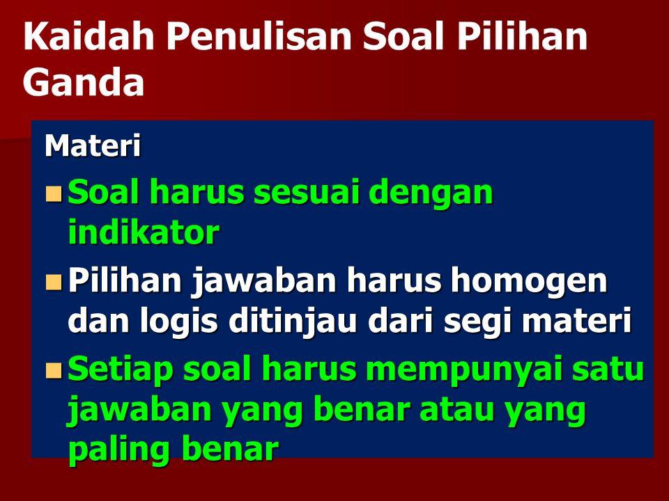 Materi Soal harus sesuai dengan indikator Soal harus sesuai dengan indikator Pilihan jawaban harus homogen dan logis ditinjau dari segi materi Pilihan