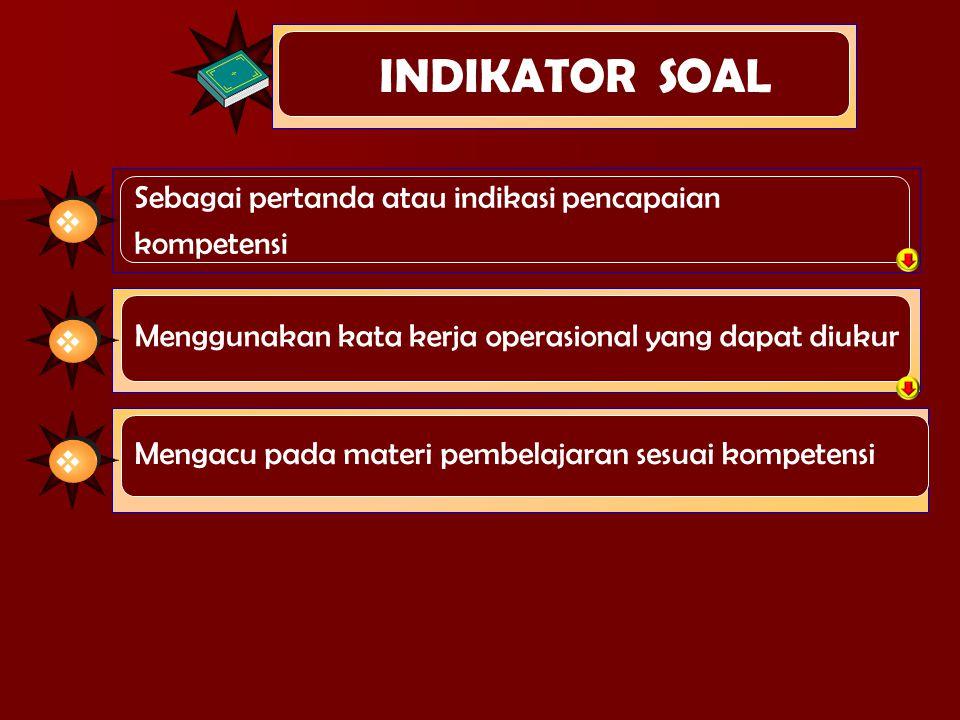 INDIKATOR SOAL Sebagai pertanda atau indikasi pencapaian kompetensi  Menggunakan kata kerja operasional yang dapat diukur  Mengacu pada materi pembe