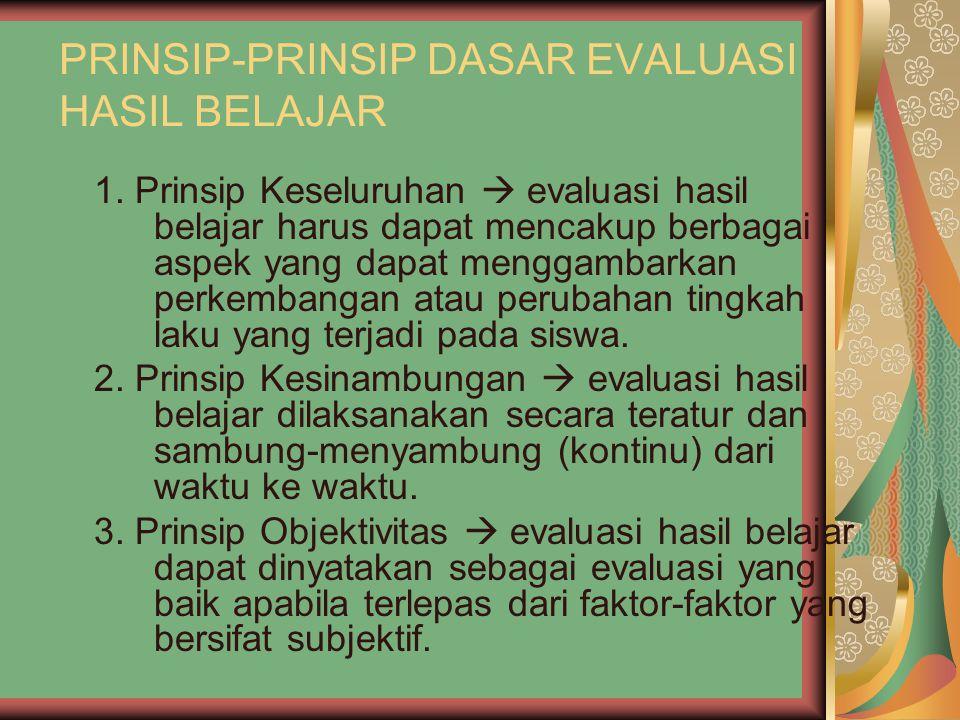 PRINSIP-PRINSIP DASAR EVALUASI HASIL BELAJAR 1.