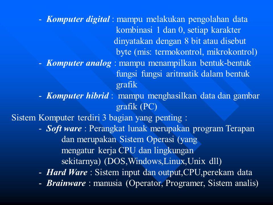 - Komputer digital : mampu melakukan pengolahan data kombinasi 1 dan 0, setiap karakter dinyatakan dengan 8 bit atau disebut byte (mis: termokontrol,