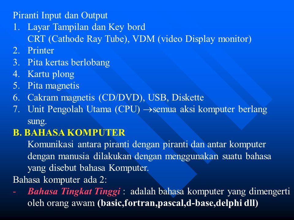 Piranti Input dan Output 1.Layar Tampilan dan Key bord CRT (Cathode Ray Tube), VDM (video Display monitor) 2.Printer 3.Pita kertas berlobang 4.Kartu p