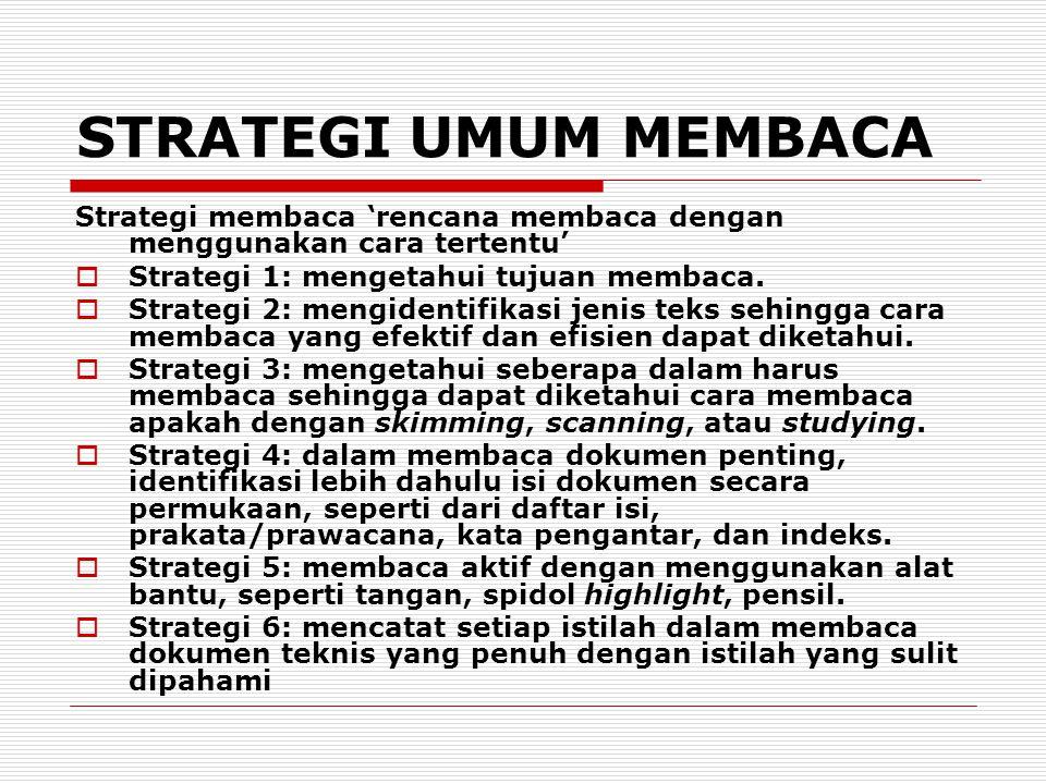 STRATEGI UMUM MEMBACA Strategi membaca 'rencana membaca dengan menggunakan cara tertentu'  Strategi 1: mengetahui tujuan membaca.  Strategi 2: mengi